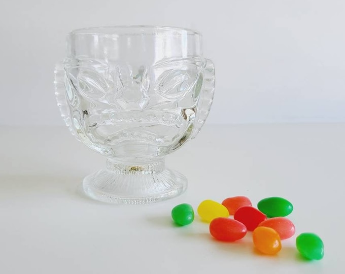 Vintage tiki mug in clear glass | tiki cup | goblet | vase |Bohemian decor | Kitschy decor |