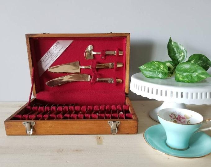 Vintage brass cutlery dessert set | gold flatware |