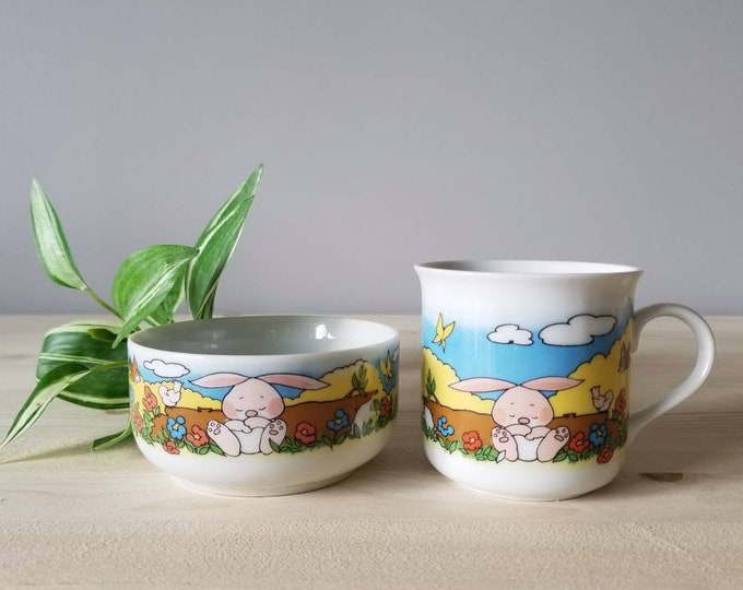 Vintage childs dinner set | bowl and cup baby gift set | Easter