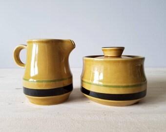 Vintage cream and sugar | mustard yellow milk and sugar set | Montezuma Japan golden harvest