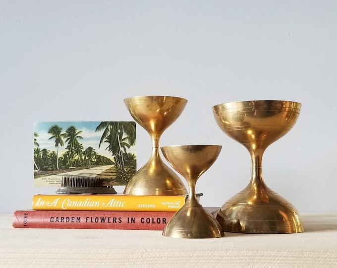 Featured listing image: Vintage brass chalices set of three | brass home decor |
