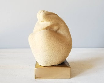 Vintage abstract figurative sculpture | sandstone art | modern art sculpture | woman figurine | Scandinavian art | home decor |