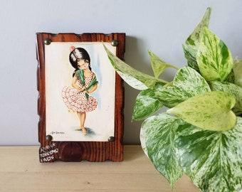 Vintage Gallarda print Spanish girl on board | kitschy artwork |