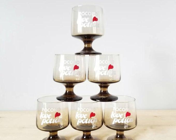 Vintage kitschy wine glasses set of 6 |  Valentines day gift  |love potion Poconos hotel souvenirs | newlyweds |
