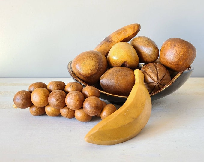 Vintage wooden fruit   wood banana   fun fruit decor   decorative fruit   table centerpiece  