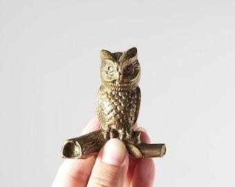 Vintage brass owl figurine | brass bird | brass animals | vintage decor | brass decor |