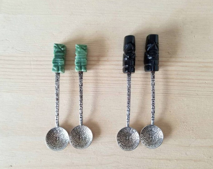 Vintage Mexican silver souvenir spoons with onyx Aztec handles | collectible spoons |