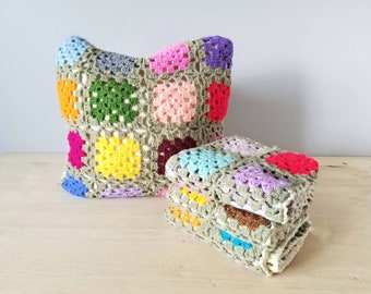 Vintage pair of granny square pillow covers | bohemian cushion covers | kitschy decor | crochet pillows |