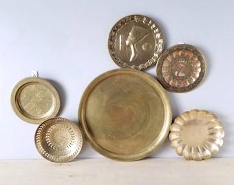 Vintage brass plate set of 6 | brass trays/bowls |
