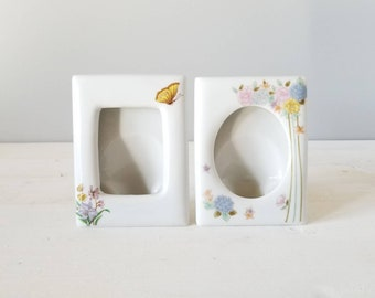 Vintage ceramic picture frame pair | eighties photo frames | floral pattern | butterflies |