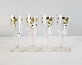 Vintage cordial glasses set of 4 |  mid century stemware | 4 Oz | barware | Vintage barware | cocktail | atomic style |