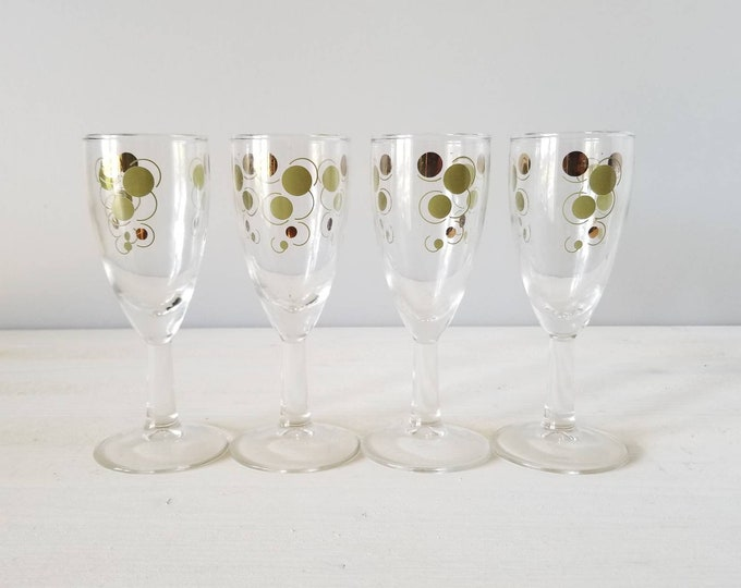 Vintage cordial glasses set of 4 |  mid century stemware | 4 Oz | barware | Vintage barware | cocktail | atomic style |