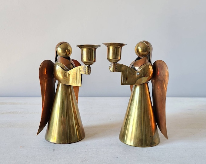 Vintage pair of brass and copper angel candle holders | Christmas candlestick holders | holiday decor |