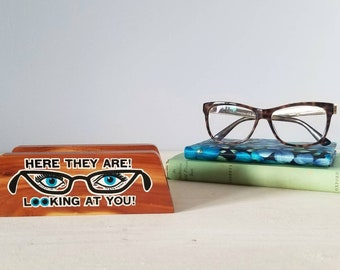 Vintage wood eye glasses holder mud century modern |