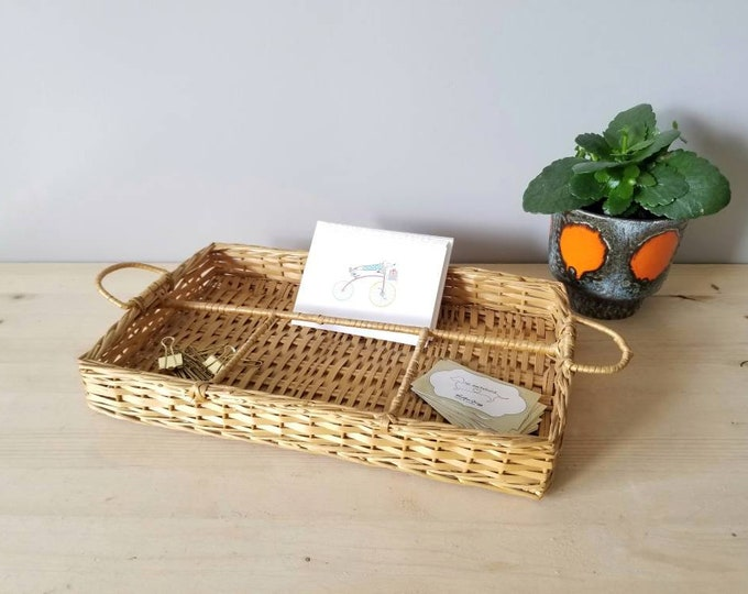 Vintage wicker tray with handles | desk storage office decor | mid century home organization |