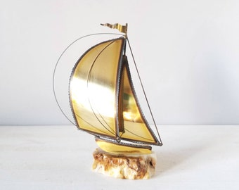 Vintage brass sailboat on onyx base by Don and John DeMott | shelf decor | man cave | nautical beach house decor | Bohemian |