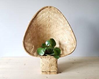 Vintage wicker plant holder | fan shaped plant stand | bohemian decor |