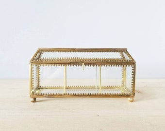 Vintage glass and brass trinket box | jewelry box | curio box with gold metalwork |