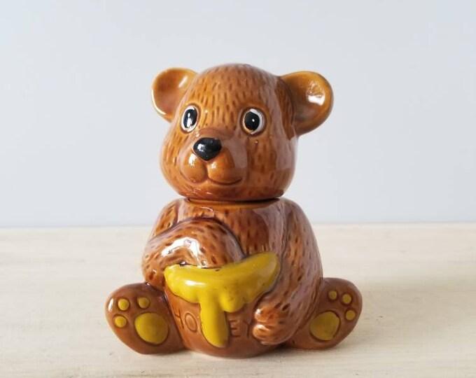 Vintage honey bear pot | honey serving jar |