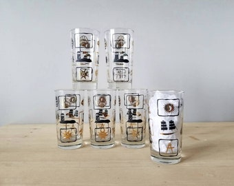 Vintage nautical highball glass set of 6 | Dominion Sun and Sea | black and gold cocktail glasses |