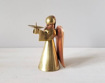 Vintage brass and copper angel candle holder | Christmas candlestick holder | holiday decor |