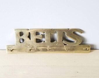 Vintage brass hook   large brass belt hook   home organization   storage solutions  