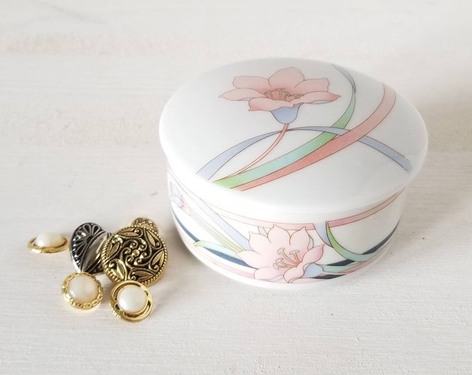 Vintage floral trinket box | covered dish | jewelry box |