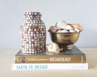 Vintage mosaic tile vase | mid century flower vase | gold pink brown tile |