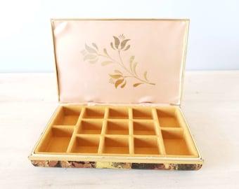 Vintage tortoise shell jewelry box | soft sided jewellery case |