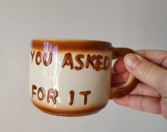 Vintage gag gift half coffee mug | half cup of coffee | kitsch | kitschy kitchen | retro | funny gift |
