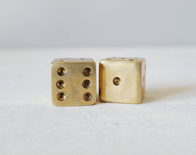 Vintage pair of brass dice | miniature dice | solid brass dice | games room | gift for men |