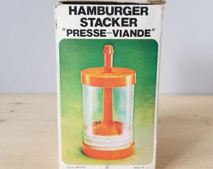 Vintage hamburger press | orange plastic patty press | retro kitchen |
