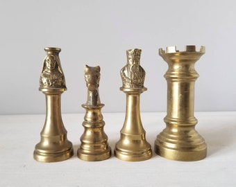 Vintage solid brass chess piece bottle openers | rare mid century barware | sold individually |