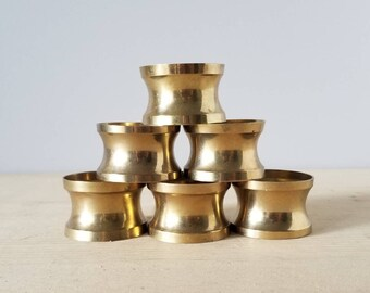 Vintage brass napkin rings set of 6 | entertaining decor | hostess gift |