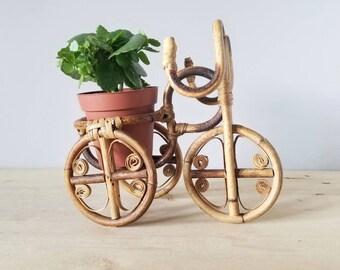 Vintage rattan bicycle plant holder | Bentwood planter | Bohemian decor houseplant planter |