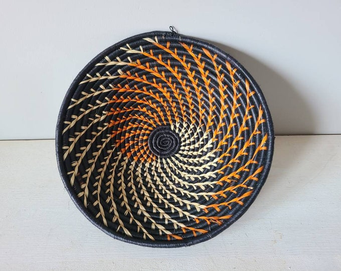 Vintage African woven basket | woven basket | wall basket | bohemian decor | boho home decor | wicker basket | straw basket | basket bowl |
