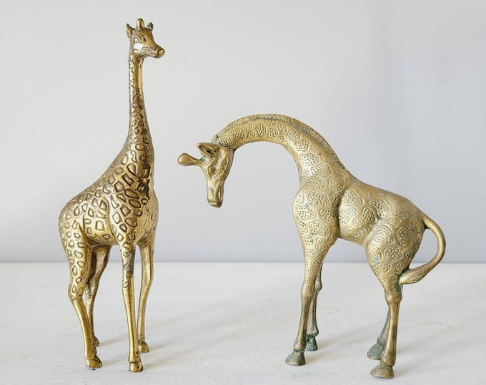 Vintage large brass giraffe pair | mid century brass statue/figurine |