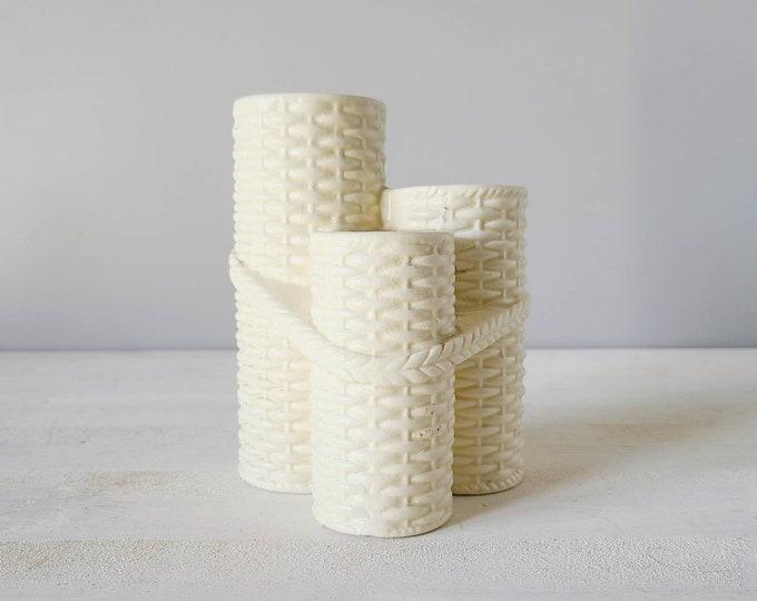 Vintage matte white vase | basket weave bud vase | Asian style | propagation vase | 3 tier vase |