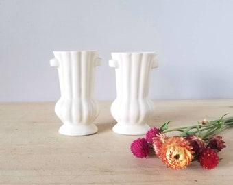 Vintage matte white vase | art nouveau style vase pair made in the USA |