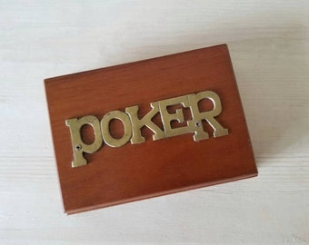 Vintage wooden poker card box | poker chip trinket box |