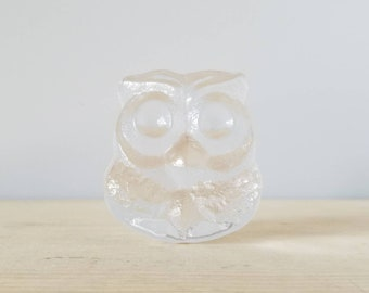 Vintage Skruf Sweden crystal owl paperweight | shelf decor | Scandinavian clear glass owl |