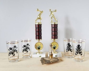Vintage bowling highball glass set of 4 | black and gold cocktail glasses |