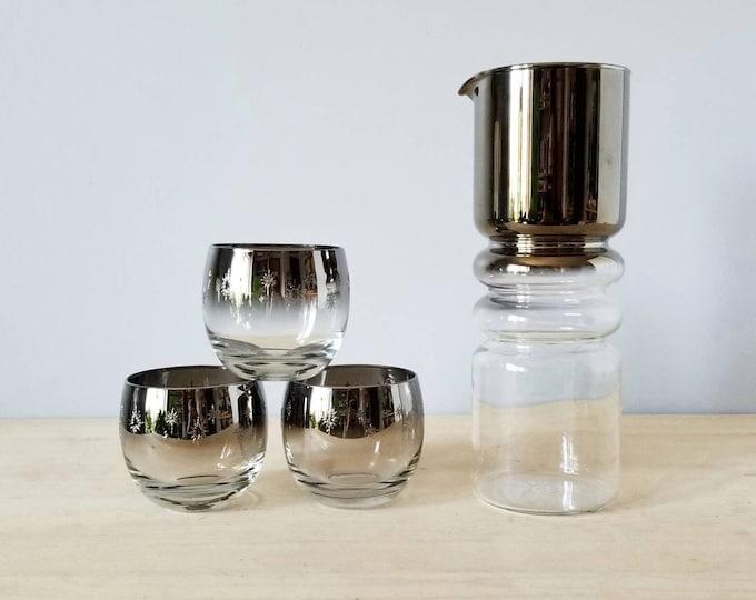 Vintage Vitreon Queens Lustreware decanter | ombre mercury glass | glass pitcher | wine cocktails |