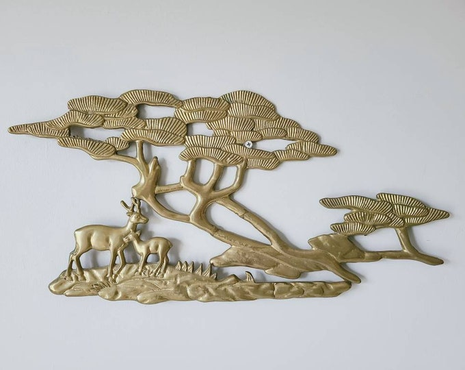 Vintage brass tree with deer wall hanging | bonsai tree wall decor | mid century wall art |