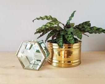 Vintage glass and brass trinket box | etched glass jewellery box |
