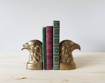 Vintage Eagle brass bookends | heavy brass American eagle bookends