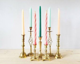 Vintage brass candlestick holders mixed set of 7 | Bohemian home decor |