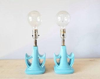 Vintage mid century ceramic table lamp pair   accent lamps   boudoir lamps  