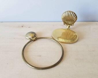 Vintage brass shell soap dish and towel holder | vintage bathroom decor |