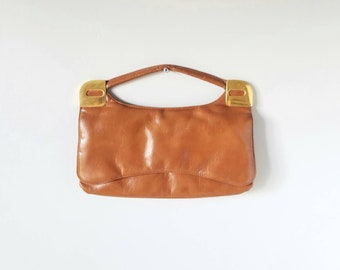 Vintage leather clutch purse | leather handbag | mid century modern style | vintage fashion | distressed soft brown leather |